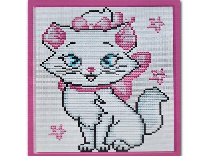 Вышивка котенок с рамкой