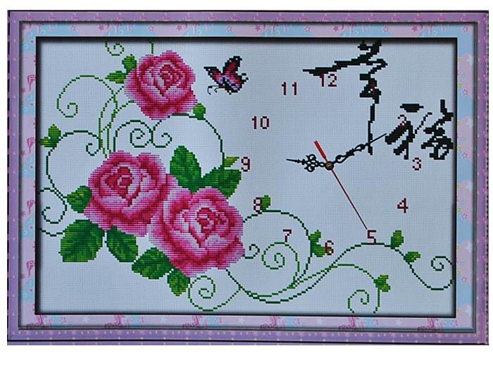 крестом Часы Вьющиеся розы